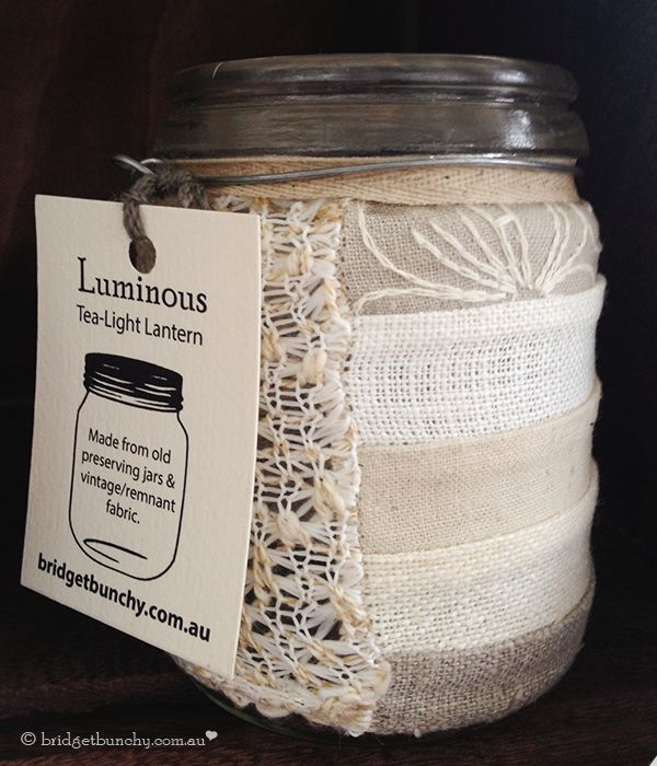 Tea-light lantern made from old preserving jars and vintage/remnant fabric.