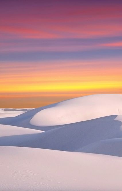 Tularosa Basin is one of the world's great natural wonders – the glistening white sands of New Mexico, USA.