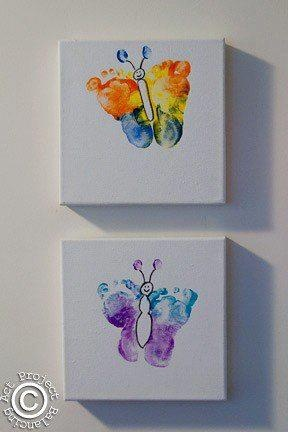 Footprint Butterflies - idea for birthdayparty activities, that way the guests will remember the day