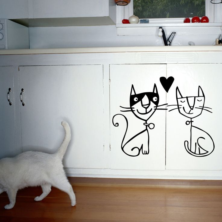 Samolepka Two Cats, 31x28 cm | Bonami