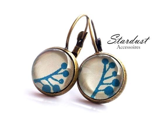 Ohrringe bronze ✿ blauer Zweig ✿