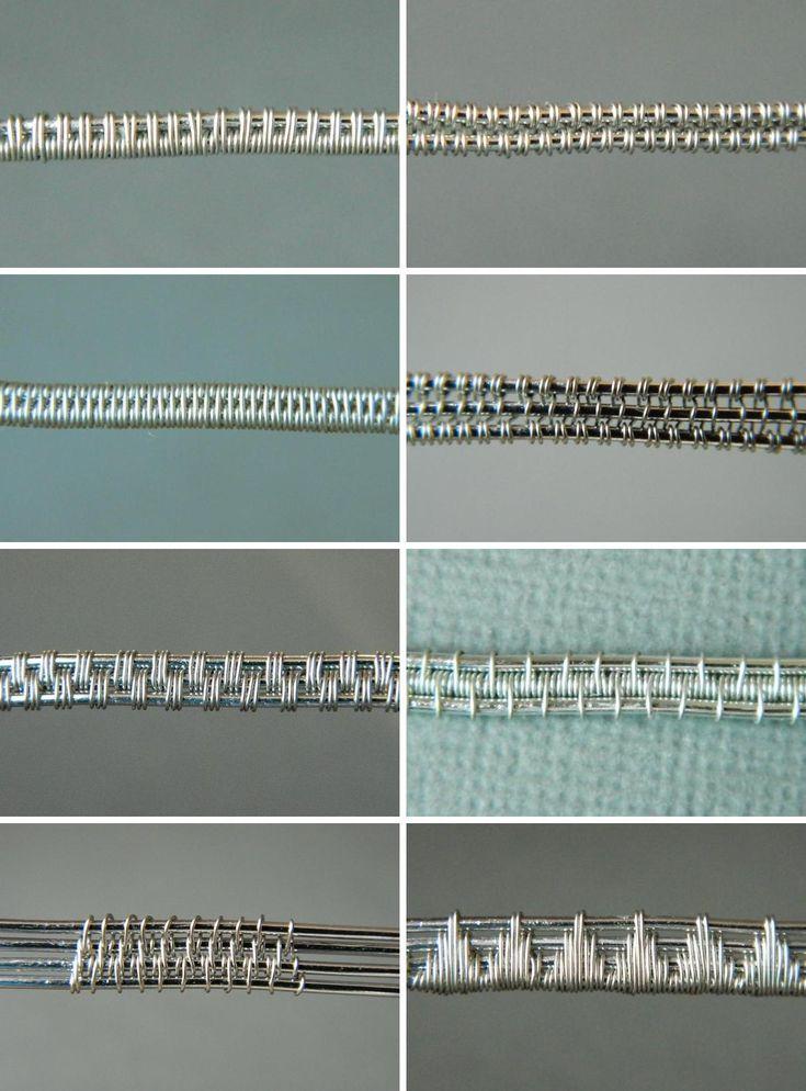 Схемы плетения из проволоки для 2-х, 3-х и 4-х проволок основы