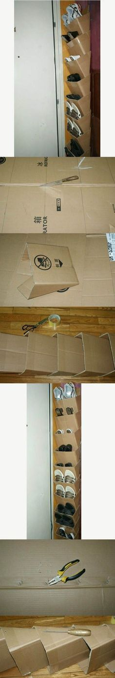 How to make a shoe organizer using used cardboard boxes