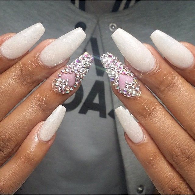Contemporary Acrylic Nails With Bling Gift