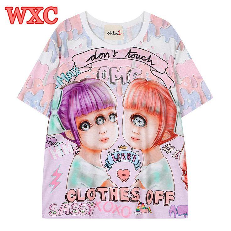 >> Click to Buy << Japan Lolita Women T Shirt Harajuku Monster Eyes Girls Graffiti Tops Tee Summer Short Sleeve Kawaii Shirts Camisa De Mujer WXC  #Affiliate