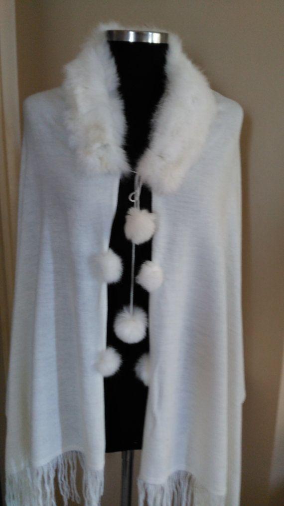 Bridal White Tricot fabric scarf   -  ,Pom-pon fur scarf   -   ,Cowl scarf   -,Shawl Scarf with fur collar