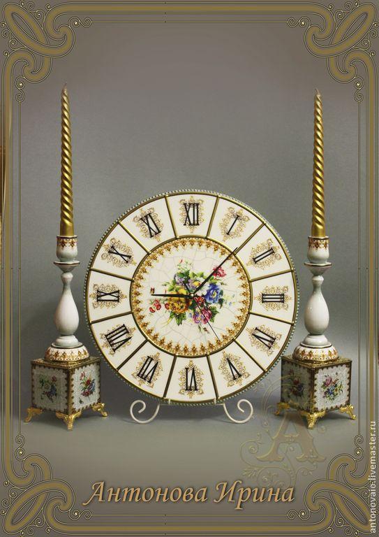 """Часы с подсвечниками-""""Золотые нити"""" - белый,комплект,набор,для дома и интерьера"""