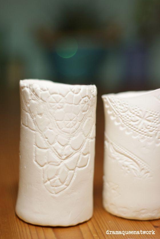 vasen aus modelliermasse fake porzellan porcelain. Black Bedroom Furniture Sets. Home Design Ideas