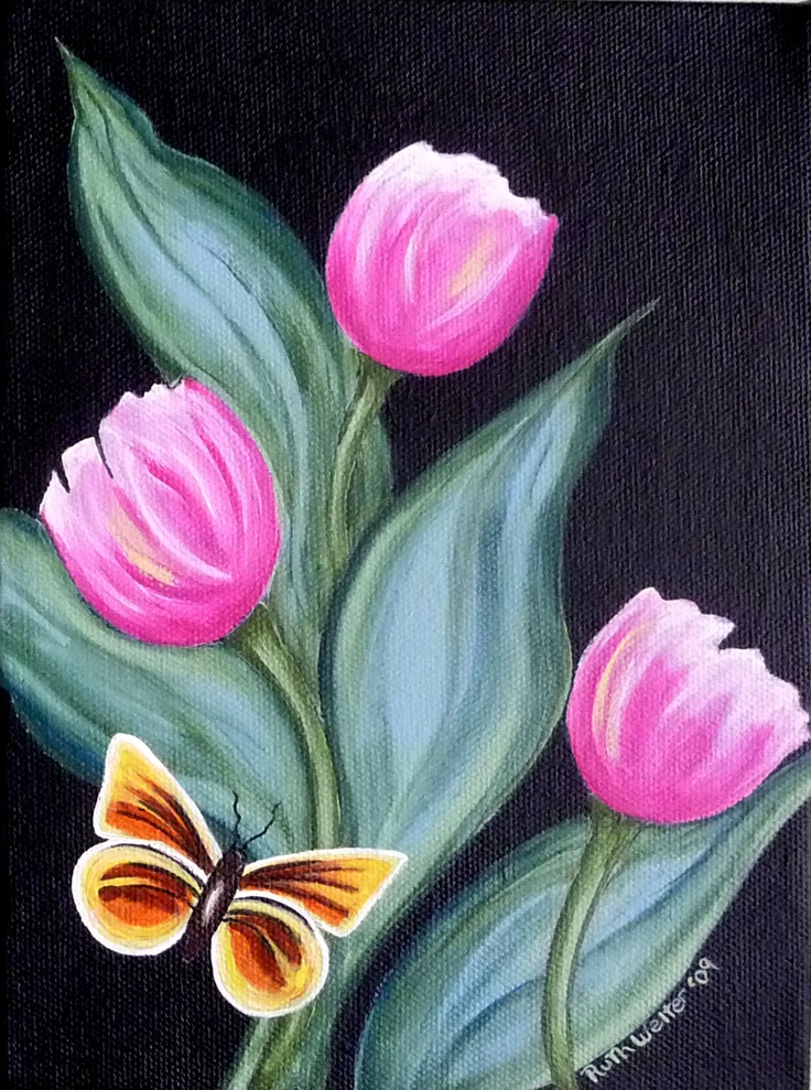 """""""Butterfly & Spring Tulips"""" - acrylic on gallery canvas"""
