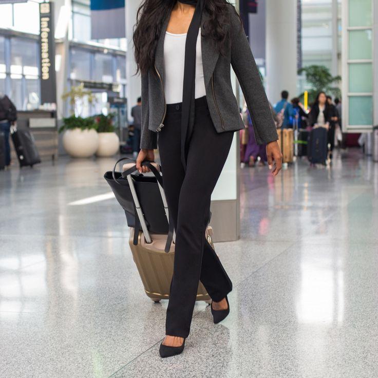 Black Dress Pant Yoga Pants (Straight-Leg)