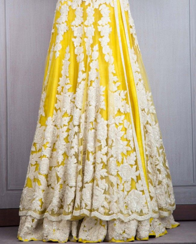 Yellow Lengha with Resham Embroidery - Lehenghas - Couture - Shop Women