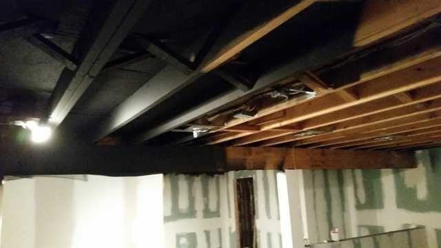 Exposed Basement Ceiling Sprayed Black Diy With Images Exposed Basement Ceiling Black Basement Ceiling Basement Ceiling