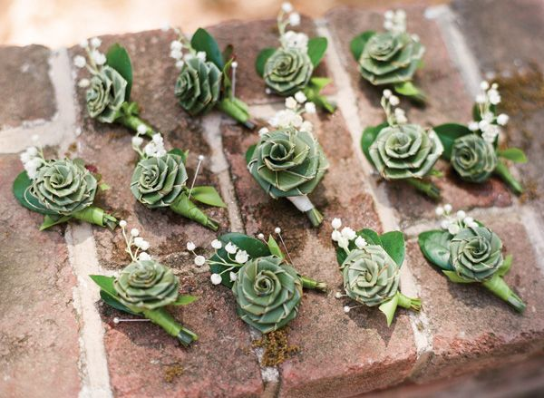 sweetgrass rose boutonnieres | Olivia Griffin