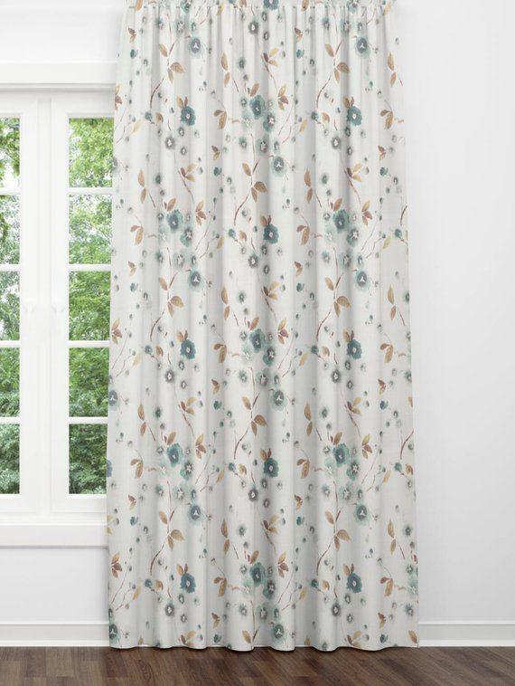 Modern Farmhouse Curtains Beige Blue Curtains Floral Farmhouse