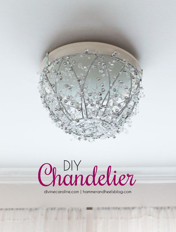 Improve your boring old light fixtures with this DIY chandelier tutorial. It only takes an hour to turn your fixtures from drab to fab!  #diy #chandelier