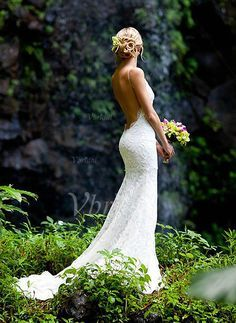 Robes de mariée - $175.99 - Forme Sirène/Trompette Col V Traîne moyenne dentelle Robe de mariée (0025107318)