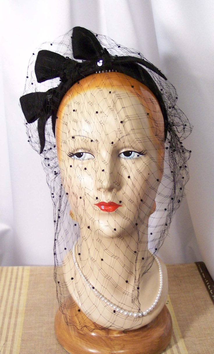 Juliette Cap, Circa Late 30s to 40s, Black Spangled Loops & Veil