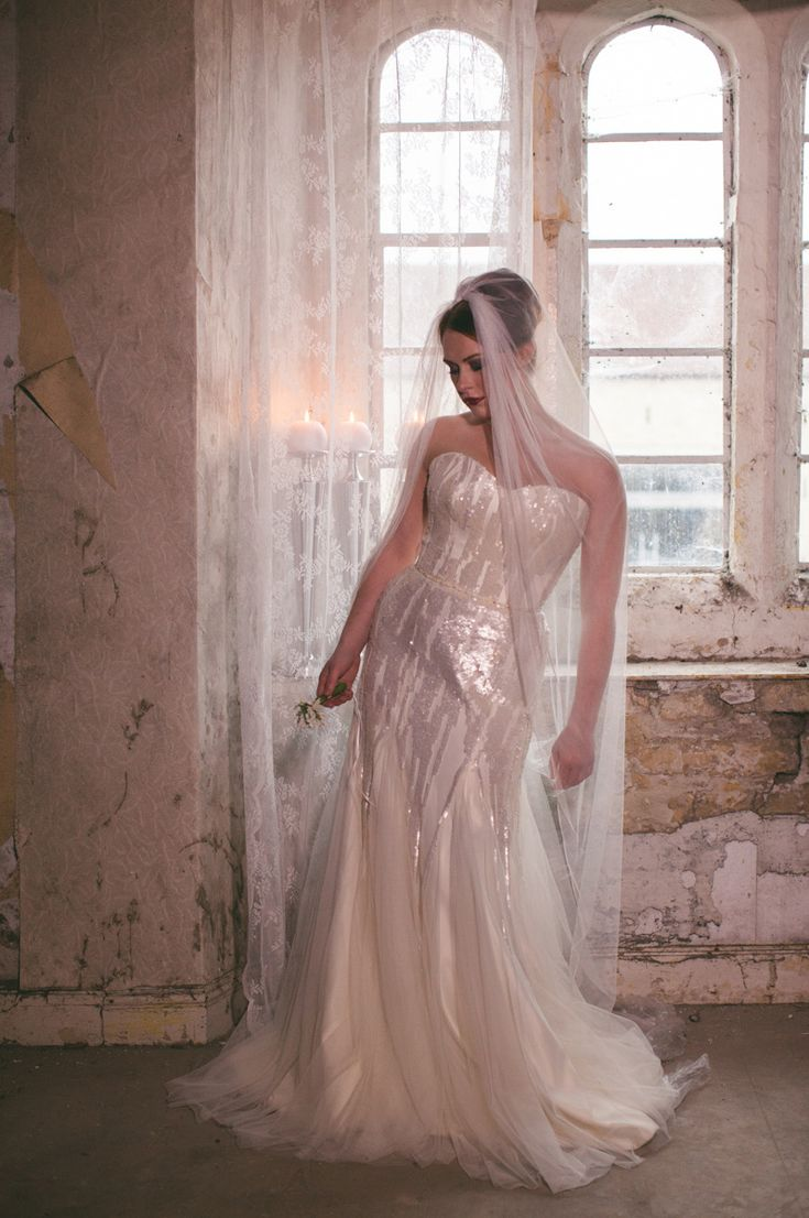 Stephanie Allin wedding gown with gorgeous sequins and tulle