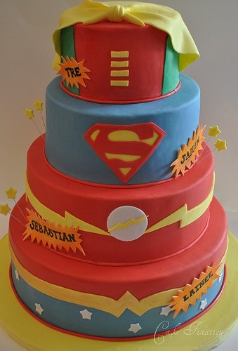 Tiered cake: Tiered Cakes, Super Hero Cakes, Dc Comic, Parties Ideas, Cakes Design, Superheroes, Superhero Cakes, Kids Birthday Cakes, Super Heroes Cakes