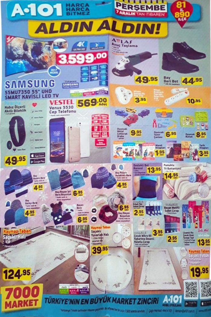 """A101 aktüel ürün kampanyaları her Perşembe devam ediyor. A101 marketlerde bu hafta7 Aralık - 14 Aralık 2017 tarihleri arasında geçerli olacak fırsat fiyatlarını aşağıdaki a101 kataloğunda inceleyebilirsiniz. A101 aldın aldın ürünlerinde Samsung 55MU7350 55"""" UHD kavisli telvizyon 3600 TL fiyatla satılacak. Televizyon şuan gittigidiyor üzerinde 3360 TL ve 100 TL chip para hediyeli. Yani bu tarz ürünleri internet üzerinden mutlaka araştırın. Attlas avuç taşlama cihazı 50 TL. Evde kısa süre..."""
