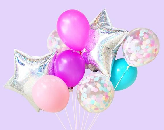 Unicorn Party Balloons Includes 3 Iridescent Confetti Balloons 12 count