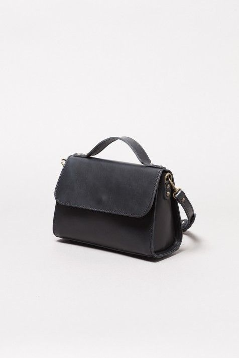Bolso color Cierre de maletín en piel de mini asa negro larga tipo clic 8nSdW8wx
