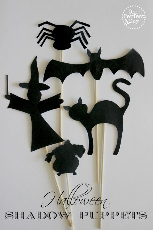 Halloween Shadow Puppets and Free Printable Template.