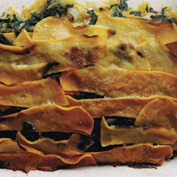 Butternut Squash and Creamed-Spinach Gratin. I did chunks of squash and sauted the spinach with the onions