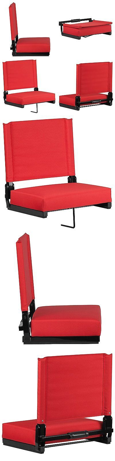 Other Outdoor Sports 159048: Bleacher Seats With Backs Red Stadium Chair Cushion Comfy Portable New! -> BUY IT NOW ONLY: $68.2 on eBay!