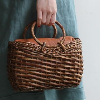 circular basket bag with ring handles