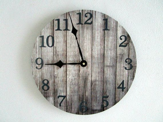 rustic wall clock on vinyl lp record gray wood pattern cabin wall decor unique wall clock rustic home decor by on etsy