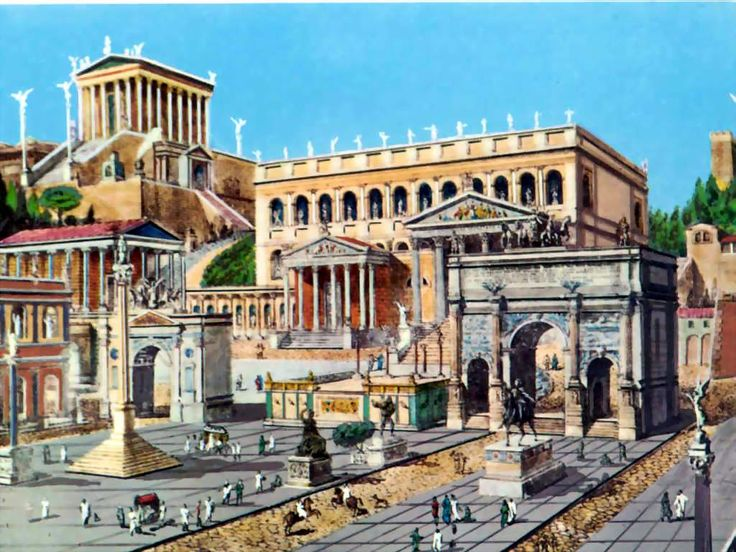 EMPIRE: Reconstructed drawing of the Roman Forum. c. 112 CE. LINK to an interactive website and explore the buildings individually.