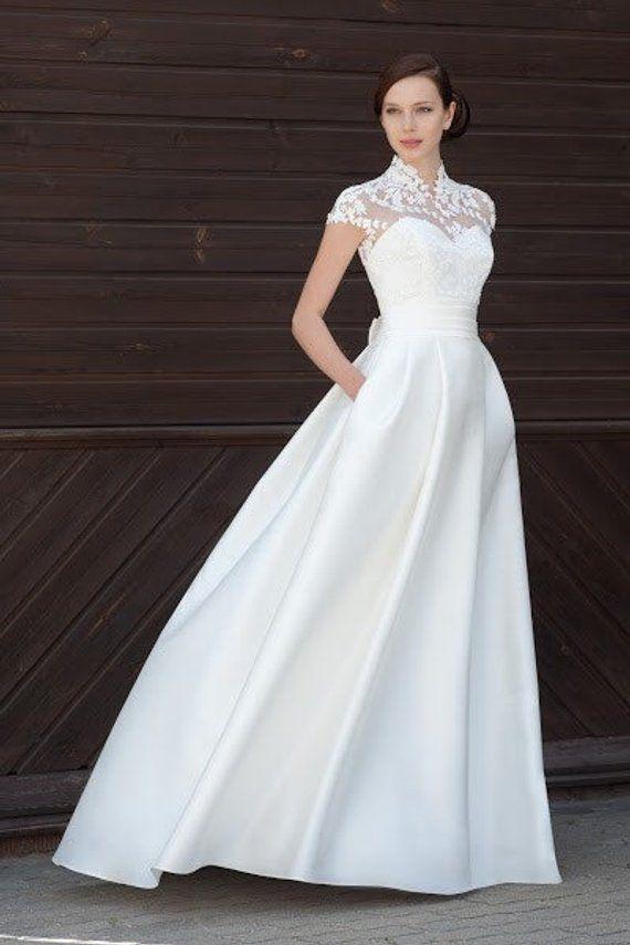 064332a5547 modern wedding dress modern wedding simple elegant lace bolero boho  minimalist wedding gown ivory w