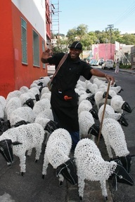 beaded wire sheep made in Cape Town  @Cathy Rivers