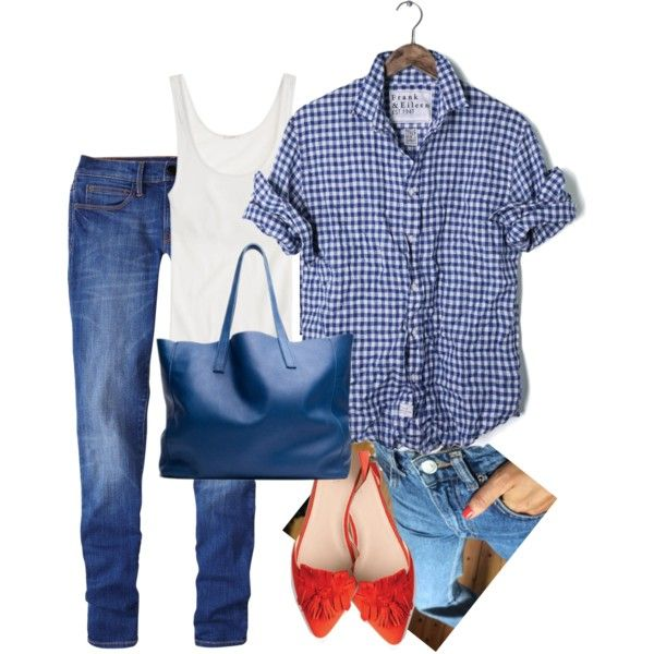 red shoes blue Red ON d'orsay flats or KC patent ballet flats and everything. Factory plaid shirt, gingham shirts, ALL the holiday shirts. Red lippy too