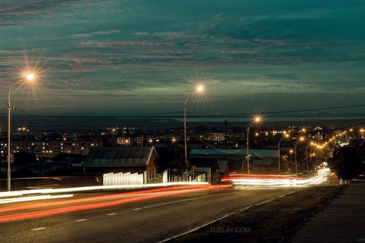 Temryuk city night - Temryuk city night shot on Rosy Luksemburg street. Krasnodar region, Russia.