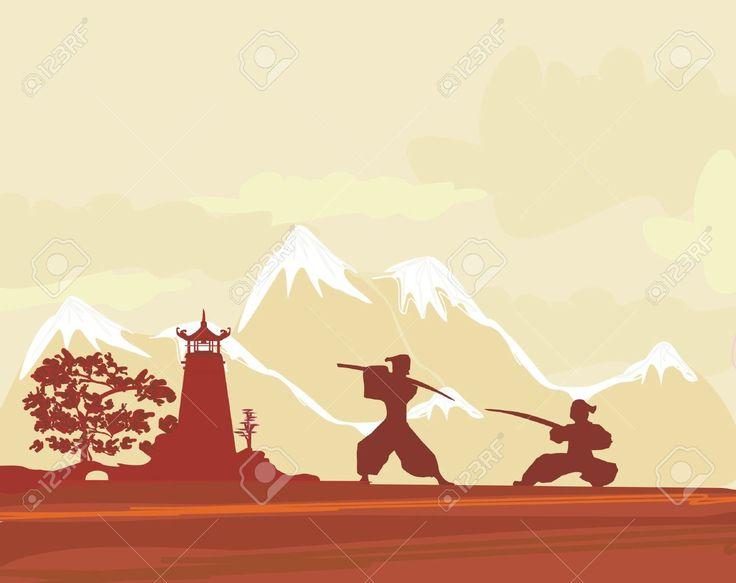 Aebaccdbddedeb Japanese Temple Samurai Landscape Clipart