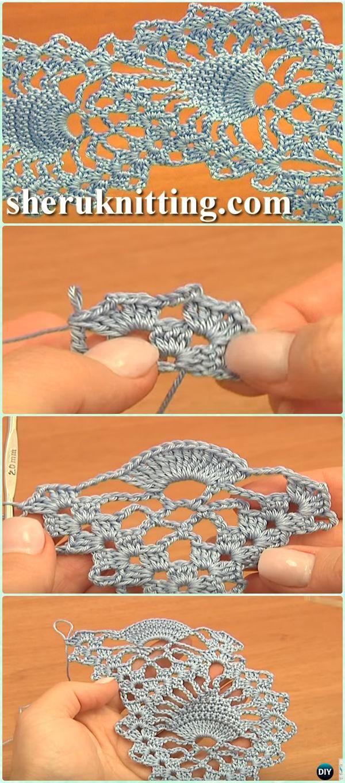 Ganchillo piña puntada pescado cordón de la puntada de la cinta libre del patrón de vídeo - cinta de ganchillo patrones gratis