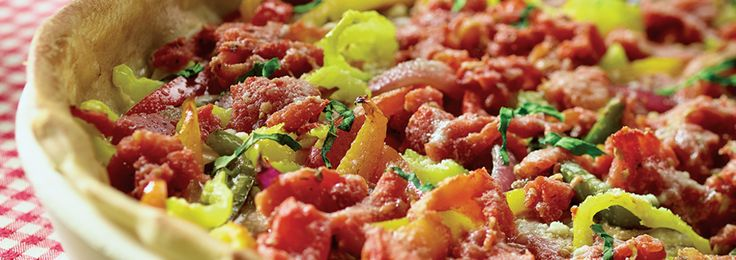 Deep dish pizza #recipe cooked on the Big Green Egg...tasty!