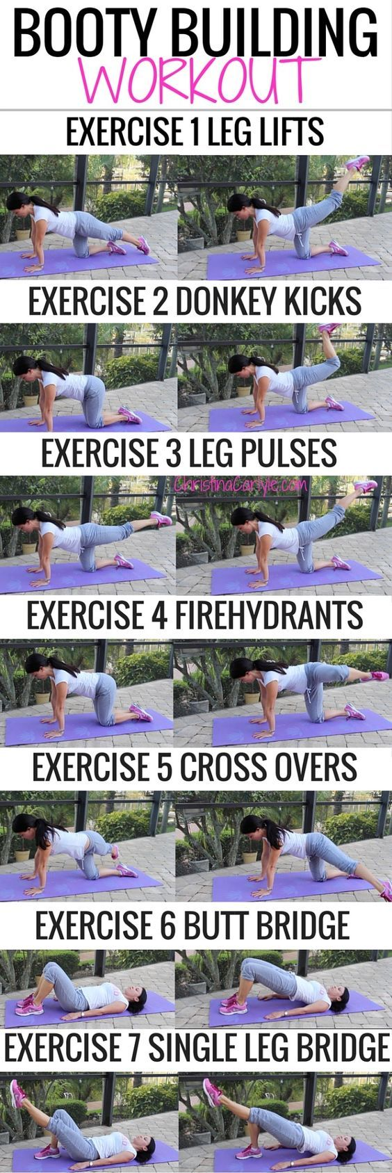 Repeat each exercise until you feel the burn... then do 10 more. Do 4 rounds, or sets of these exercises to complete your workout. For the best results, do this workout at least 2 times a week. Easy peasy!