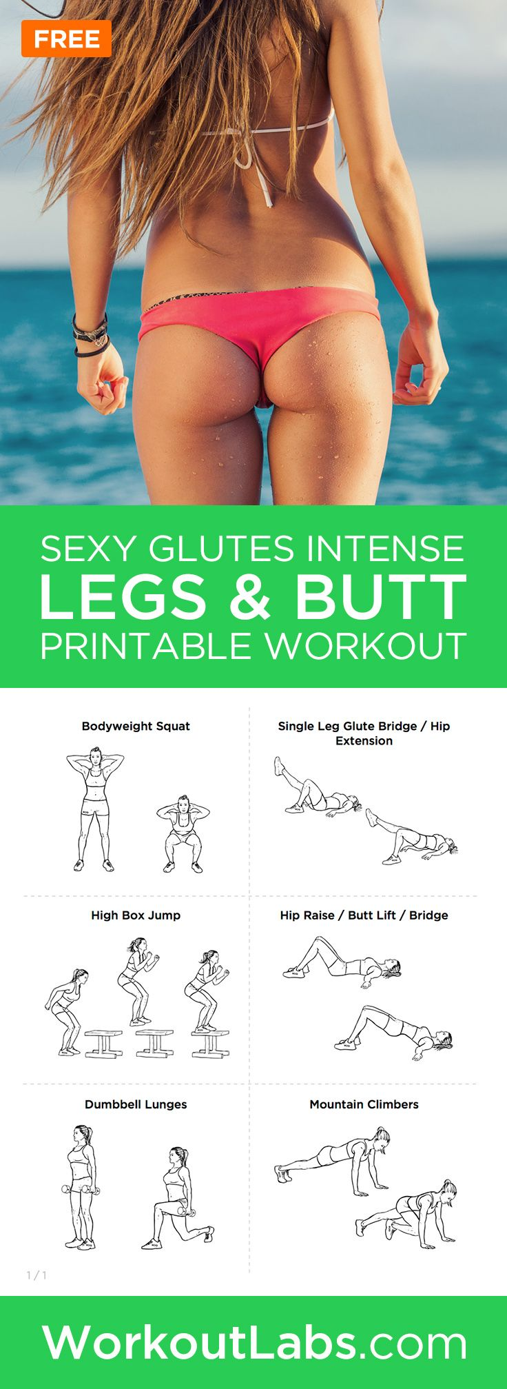 Sexy Glutes Intense Legs & Butt Printable Toning Workout