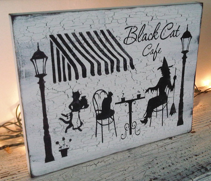 shabby chic halloween decoration witch sign cottage cafe black cat cafe