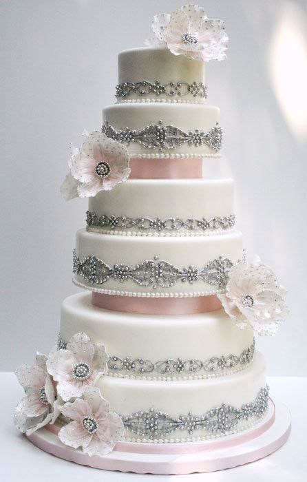 white silver and pink wedding cake the touch of pink future i do 27320