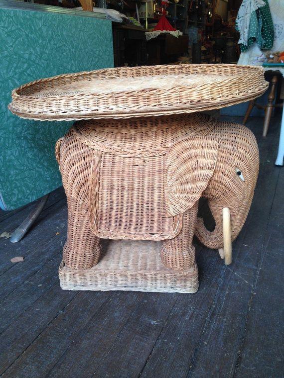 Vintage Wicker/Rattan Elephant W/Trunk Down By UpcycledUpstyled | Flea Love  | Pinterest | Vintage Elephant, Elephants And Rattan