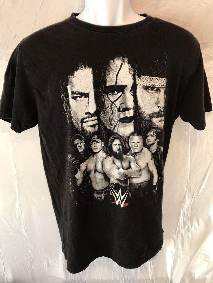 WWE Wrestler Black T Shirt 2015 John Cena Brock Lesnar Dean Ambrose Mens Large #WWE #GraphicTee