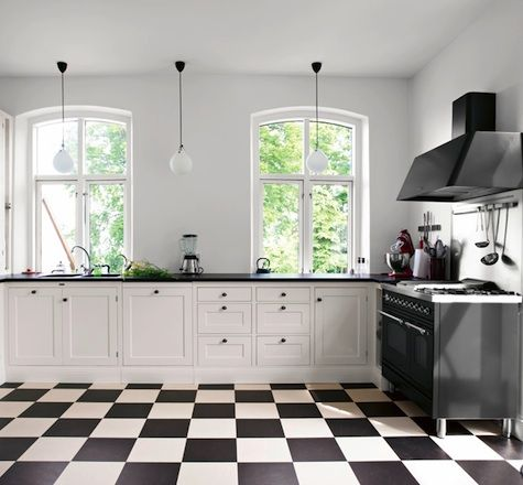 Kitchen: Black and White Roundup : Remodelista  Like the contrast of the black tops; might go well in the house