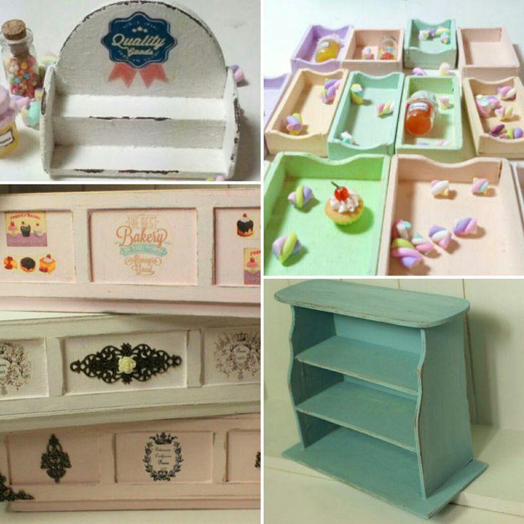 New handmade shabby chic dollhouse furnitures 💗 Nuovi mobiletti shabby chic per le case delle bambole ❤ 100%handmade