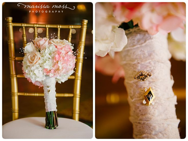 Bride's sorority pin and groom's fraternity pin on the bouquet | marissa moss photography