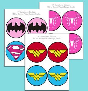 ██████████  4 INCH SUPERHERO SYMBOLS  ✦ INSTANT DOWNLOAD (Digital Art That You Download & Print Yourself) ✦ 4 INCH SIZE ✦ PRINTS ON 8-1/2 x 11 PAPER  5 SUPERHERO CHARACTERS INCLUDED (Batgirl, Supergirl, 2 Wonder Woman, & Spidergirl)  So many creative uses:  * Party decorations * Superhero Capes * Treat bags * Party Signs * Party favors * Scrapbooking * Balloons * Baby Shower * Birthday Party * Wedding Shower * Bridal Shower * Office Party * Sleepover * Kids Camp * VBS * Classroom...