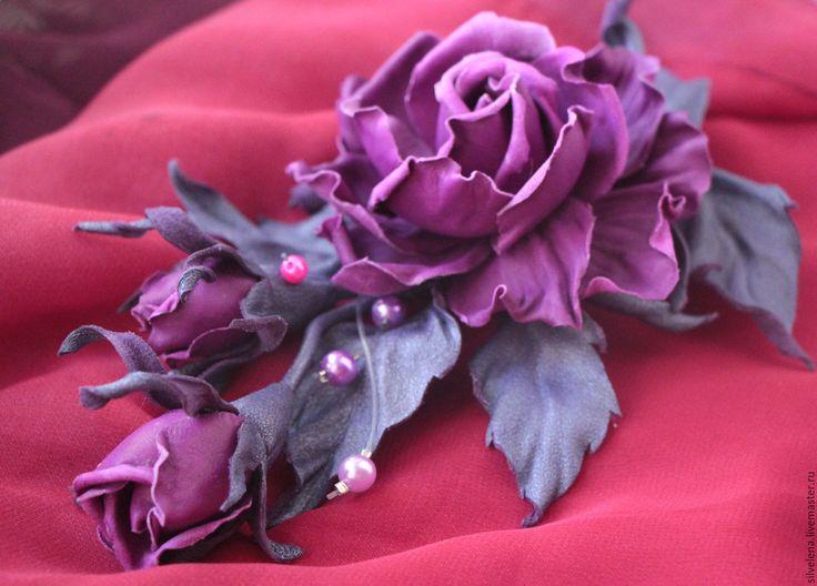 Купить Роза из кожи Маргарет фиолет макси Брошь из кожи. Цветы из кожи - брошь цветок
